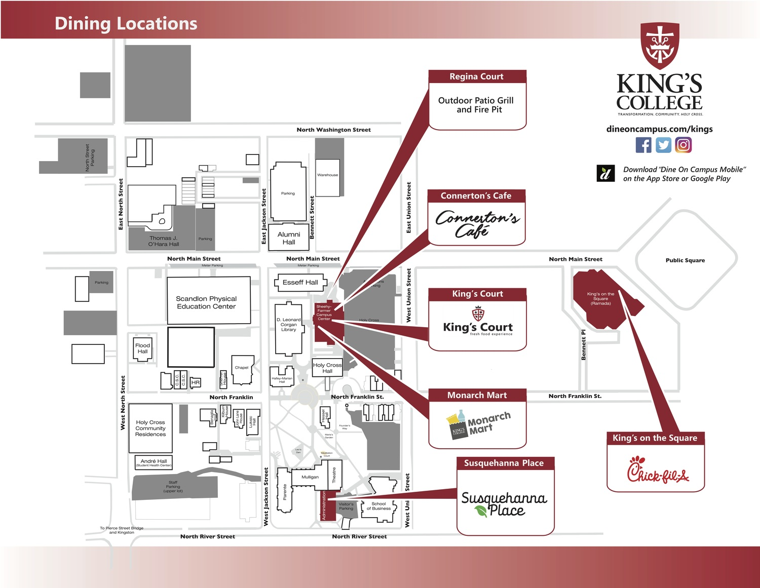 Dine On Campus at King's College    Campus Map King S College Campus Map on king's college charlotte nc dorms, king's college wrestling, gordon campus map, washington adventist university campus map, tarleton state campus map, chestnut hill campus map, university of saint francis campus map, mary baldwin campus map, caldwell university campus map, swedish hospital seattle campus map, webster campus map, uhv campus map, malone campus map, armstrong state university campus map, gwynedd mercy university campus map, rmu campus map, ecpi university campus map, penn state lehigh valley campus map, everest university campus map, neumont university campus map,