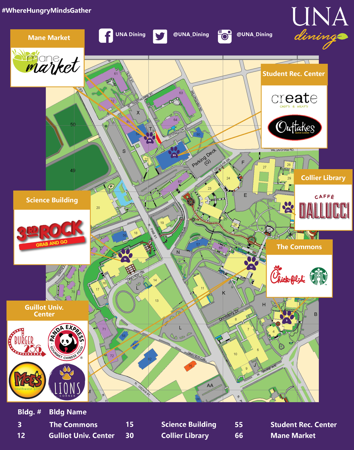 university of north alabama campus map Dine On Campus At University Of North Alabama Dining Locations
