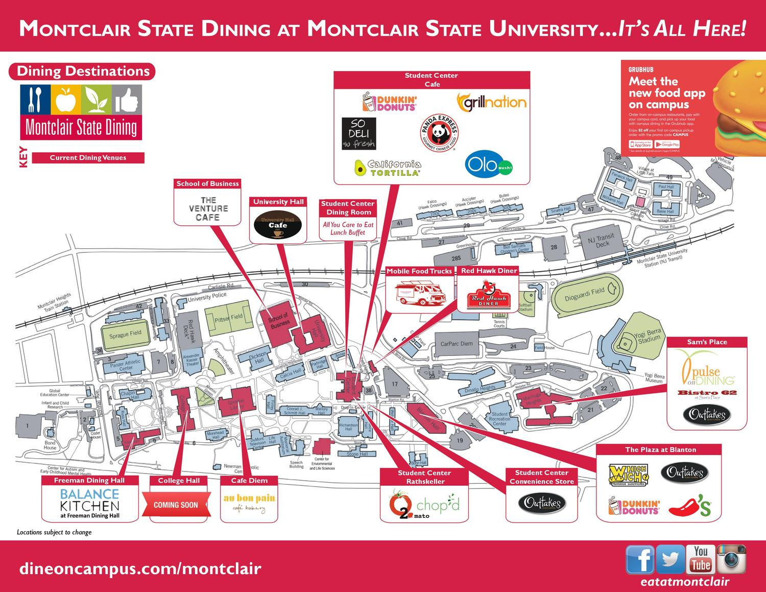 Dine On Campus at Montclair State University || Where To Eat? Montclair State University Campus Map on plymouth state college campus map, rowan university campus map, salisbury state university campus map, loyola university of maryland campus map, bastyr university campus map, fairfield university campus map, tennessee technological university campus map, metropolitan state college campus map, georgia college & state university campus map, washington state university vancouver campus map, university of wisconsin-madison campus map, city university of new york campus map, mount allison university campus map, medical university of south carolina campus map, nashville state community college campus map, new jersey college and university map, mississippi university for women campus map, eastern new mexico university campus map, southern arkansas university campus map, mountain state university campus map,