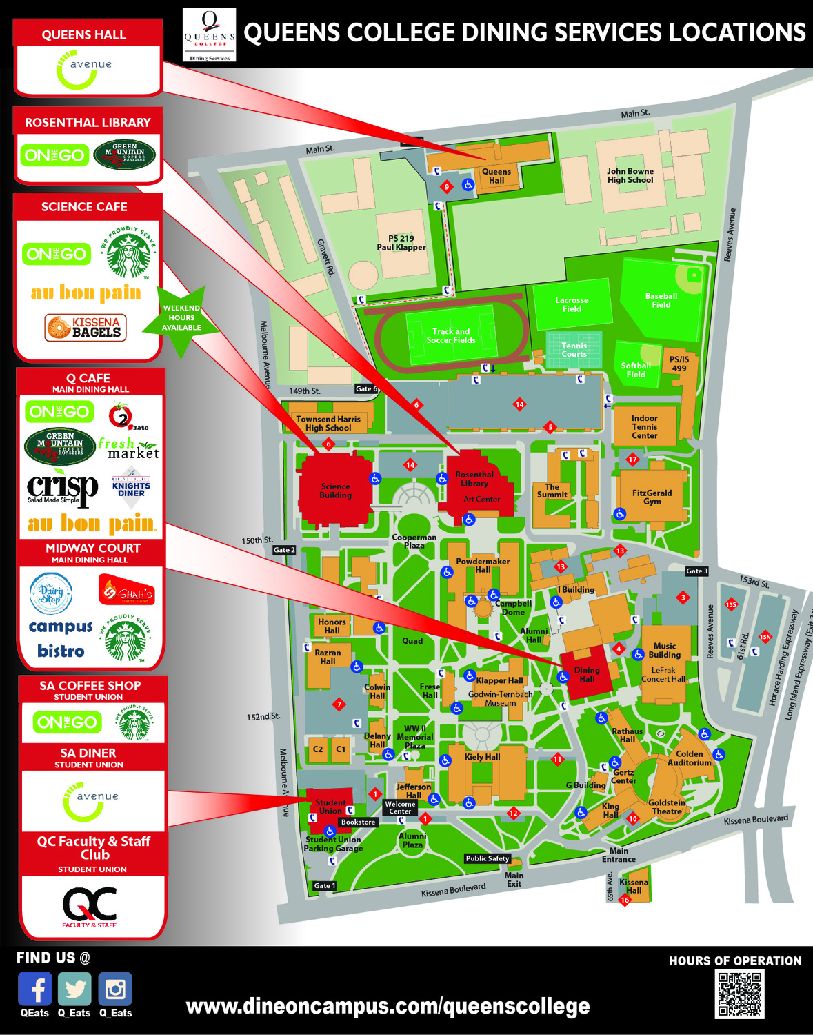 Dine On Campus at Queens College Queens College Campus Map on