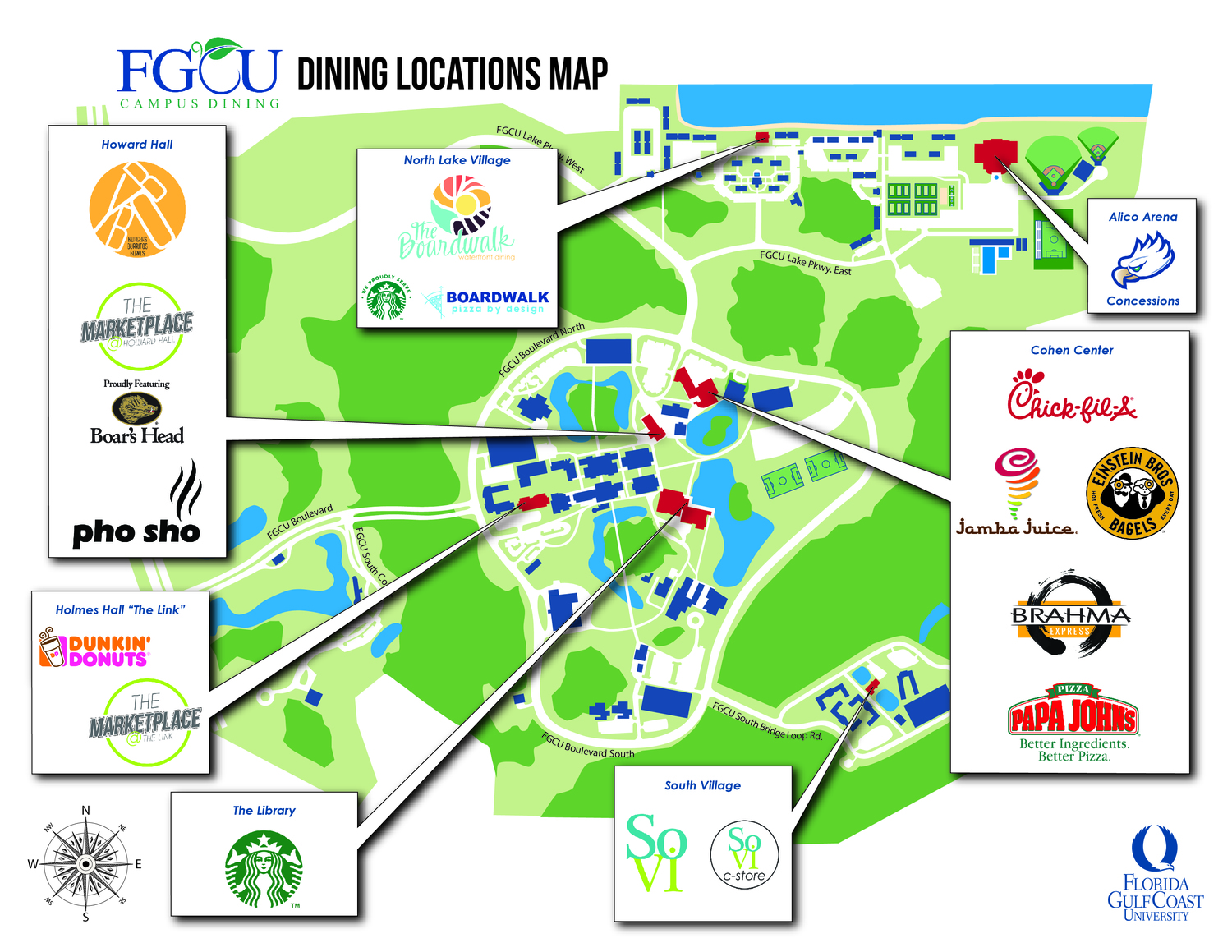 Dine On Campus at Florida Gulf Coast University || Where To Eat?