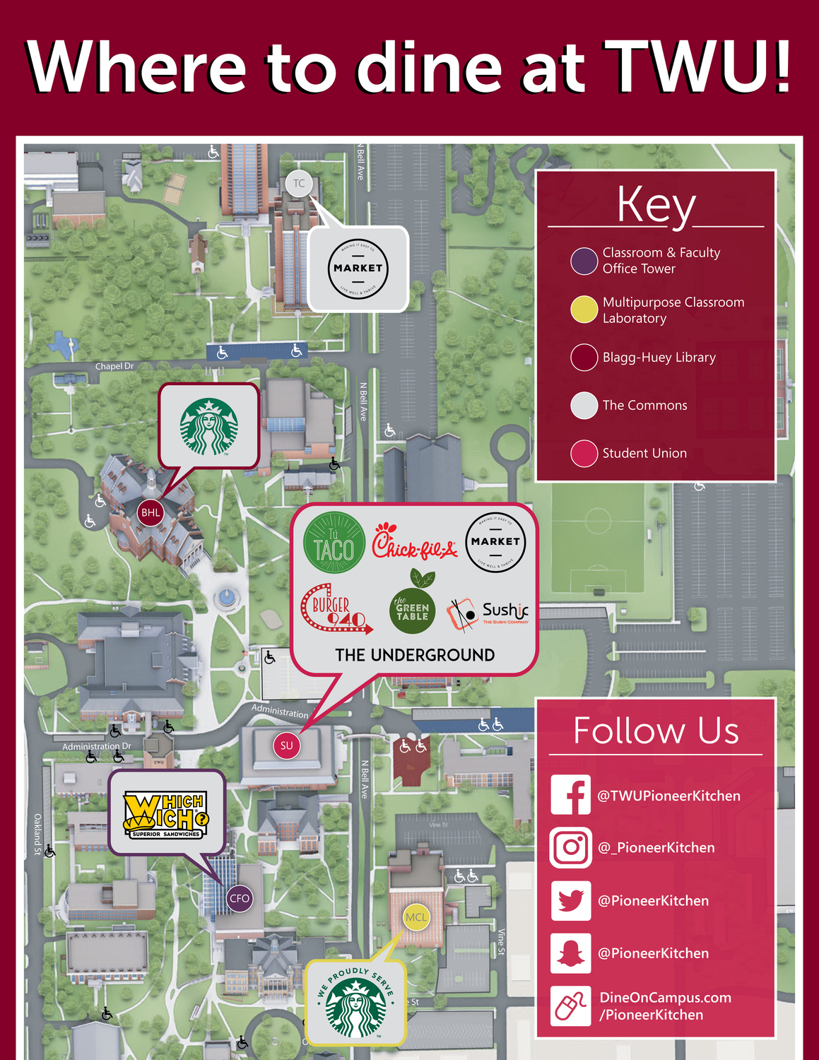 Dine On Campus at Texas Woman's University Scf Denton Campus Map on