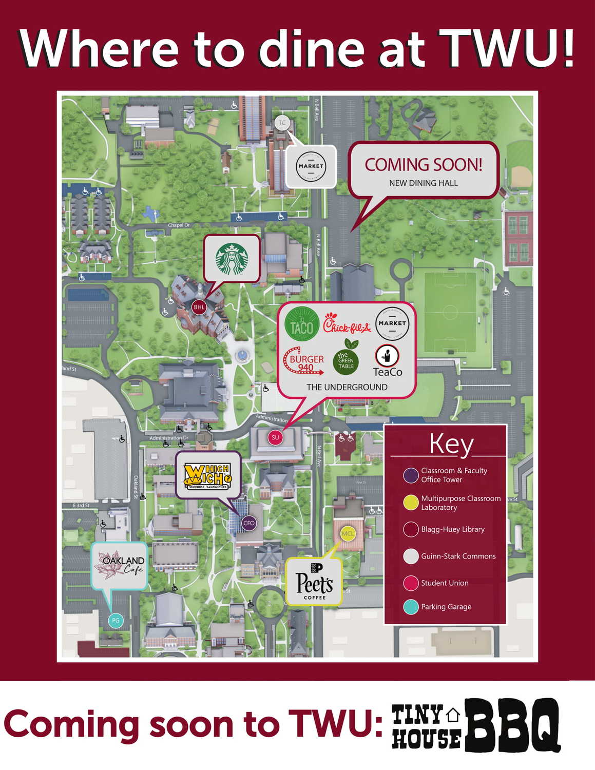 Dine On Campus at Texas Woman's University || Where To Eat ... Scf Denton Campus Map on