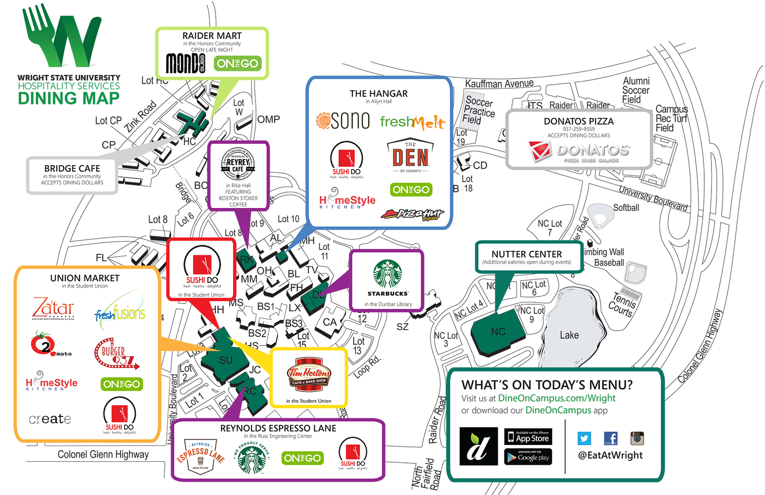 Wright State Campus Map Dine On Campus at Wright State University    Campus Map