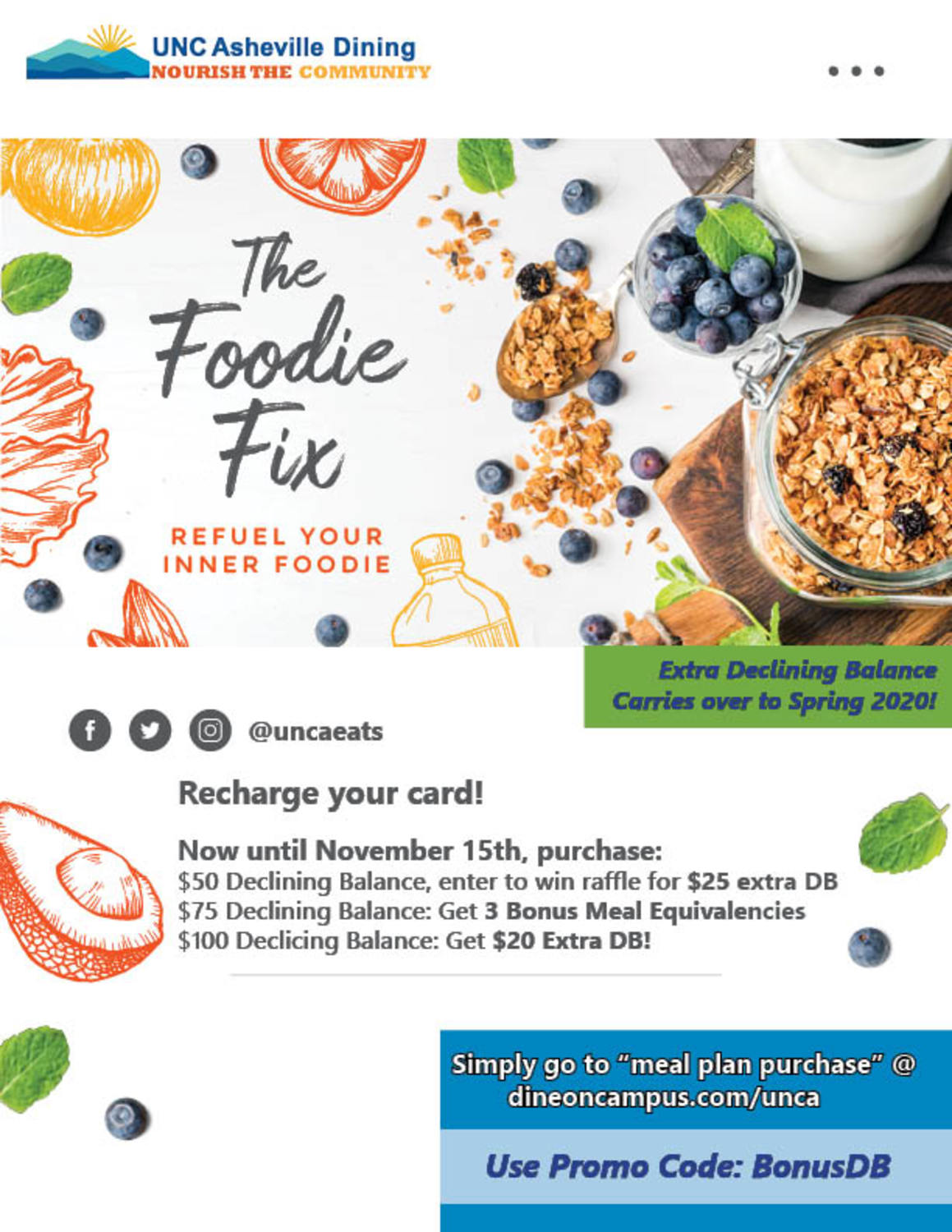 Dine On Campus at UNC - Asheville || Meal Plan FAQs