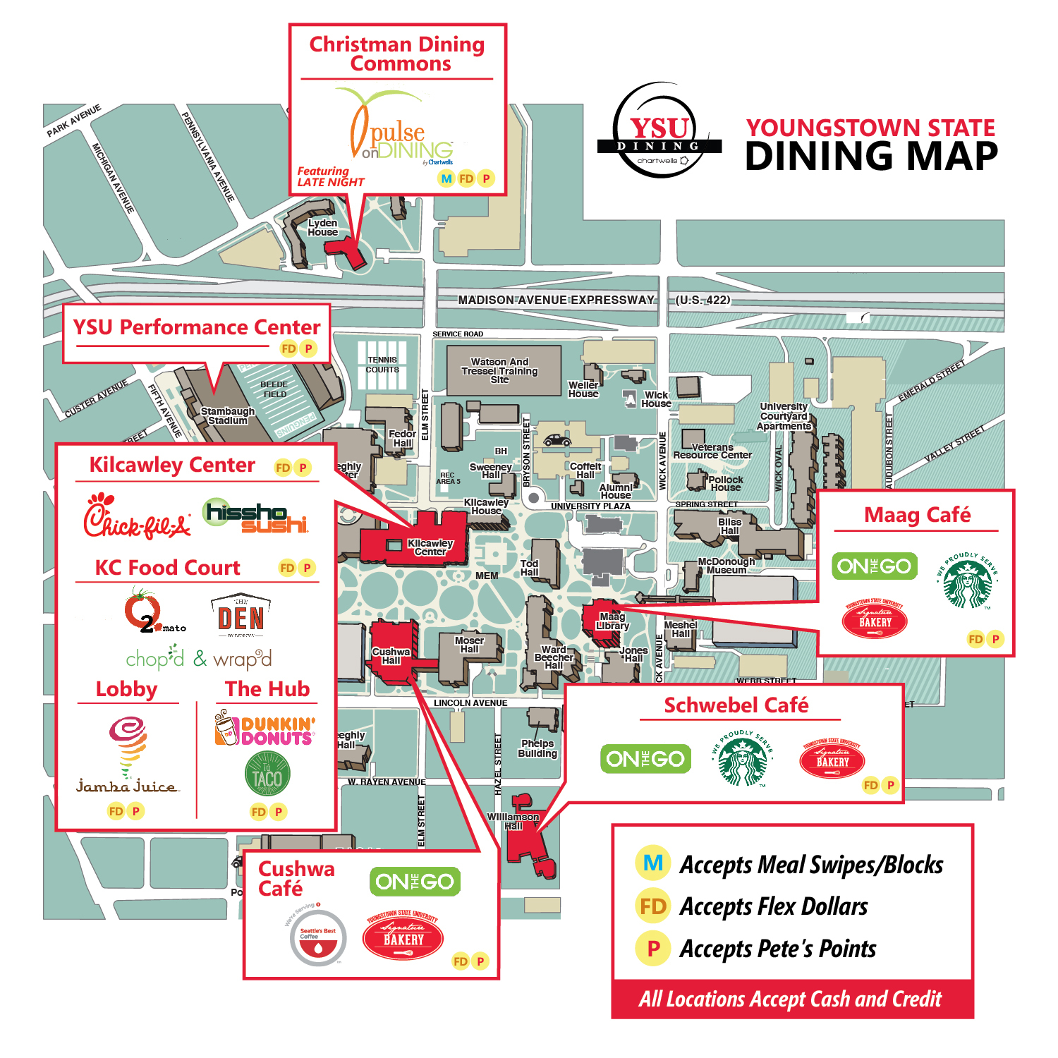 Dine On Campus at Youngstown State University || YSU Dining Map Youngstown University Campus Map on miss valley state u campus map, youngstown airport map, youngstown state university parking, ysu campus map, pc campus map, asu campus map,