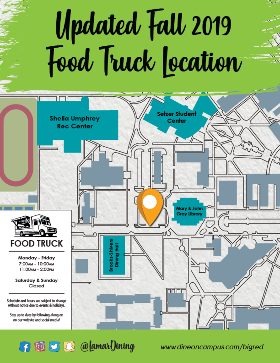 Dine On Campus at Lamar University || Food Truck Map