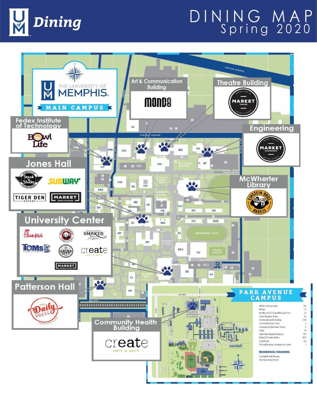 u of memphis map Cool Places To Eat Near University Of Memphis لم يسبق له مثيل u of memphis map