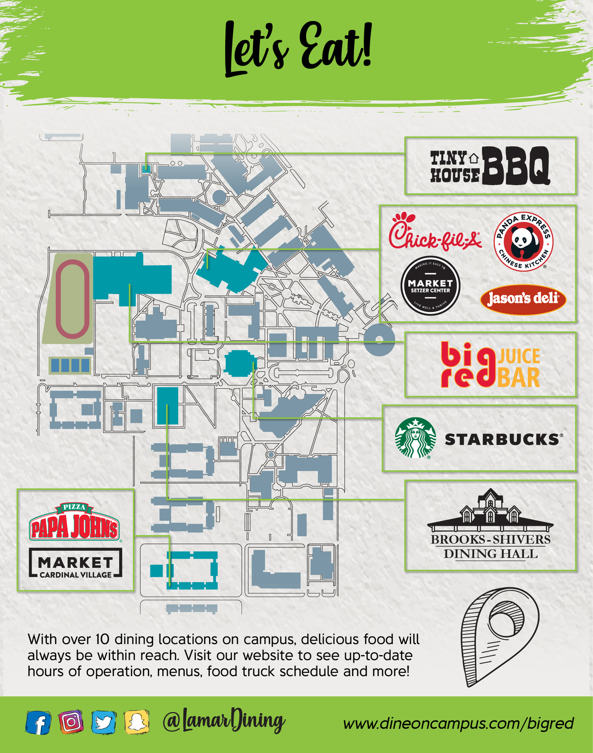 Dine On Campus at Lamar University || Where to Eat?