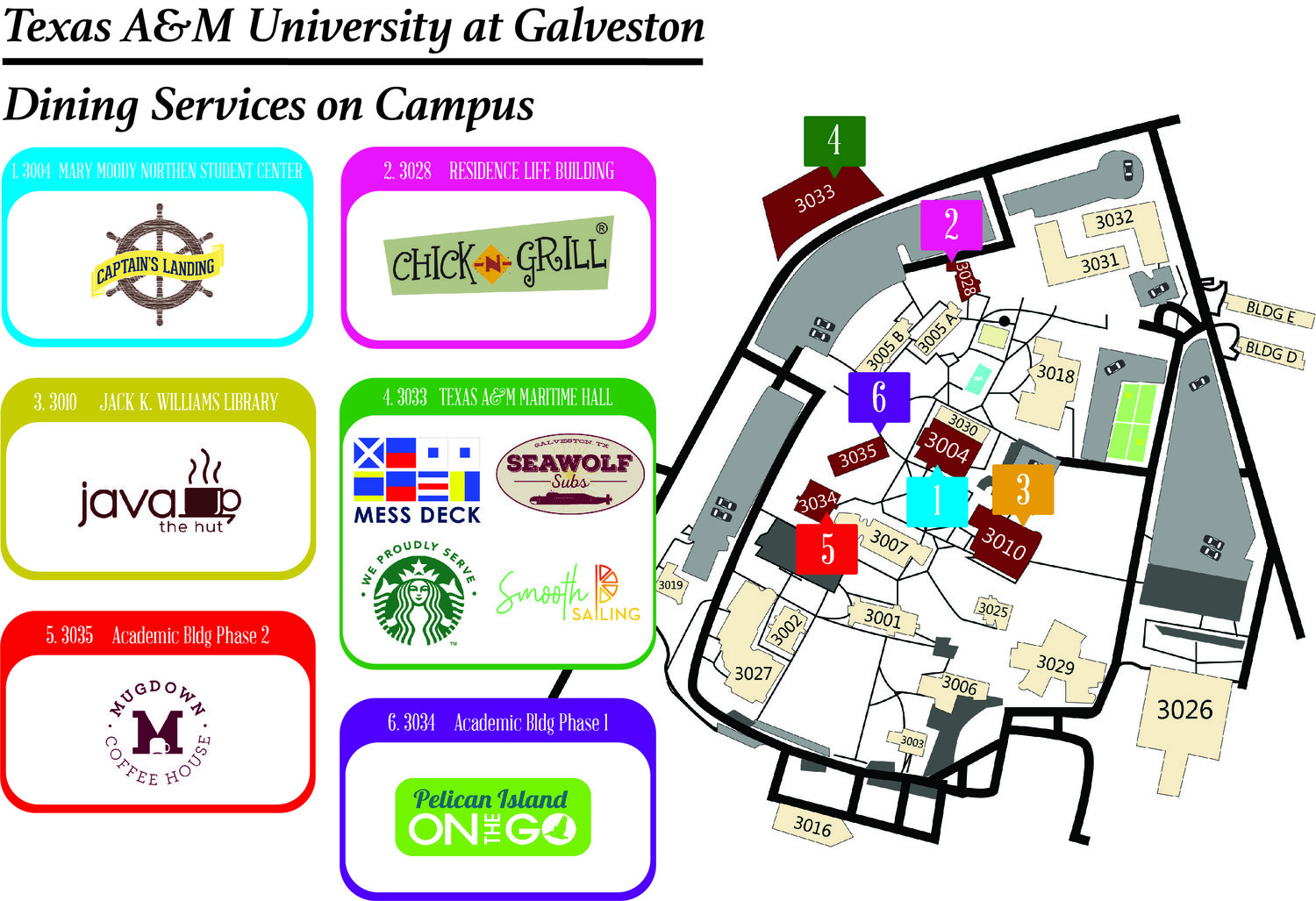 Dine On Campus at Texas A&M Galveston    Campus Dining Map Map Of Galveston Texas on